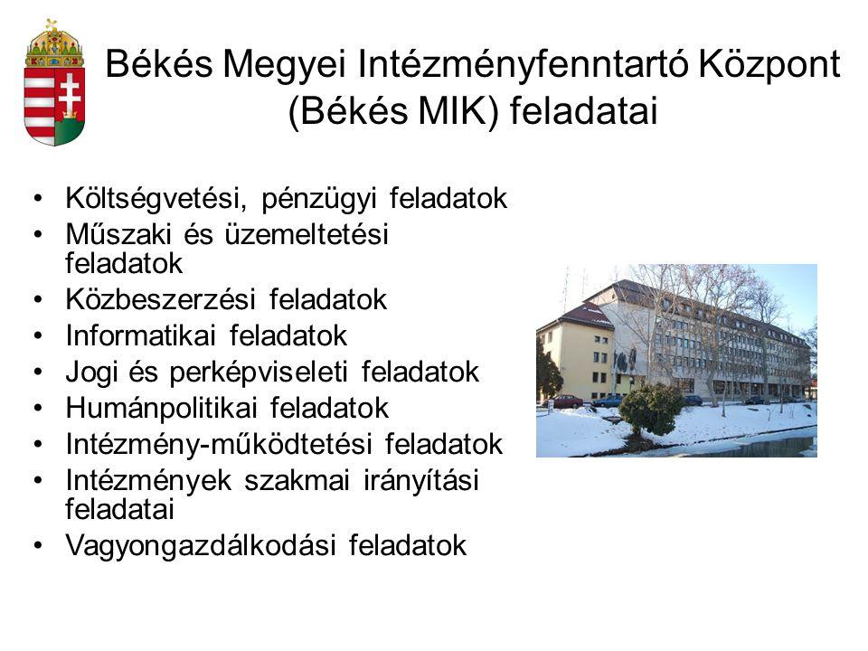 Békés Megyei Intézményfenntartó Központ (Békés MIK) feladatai