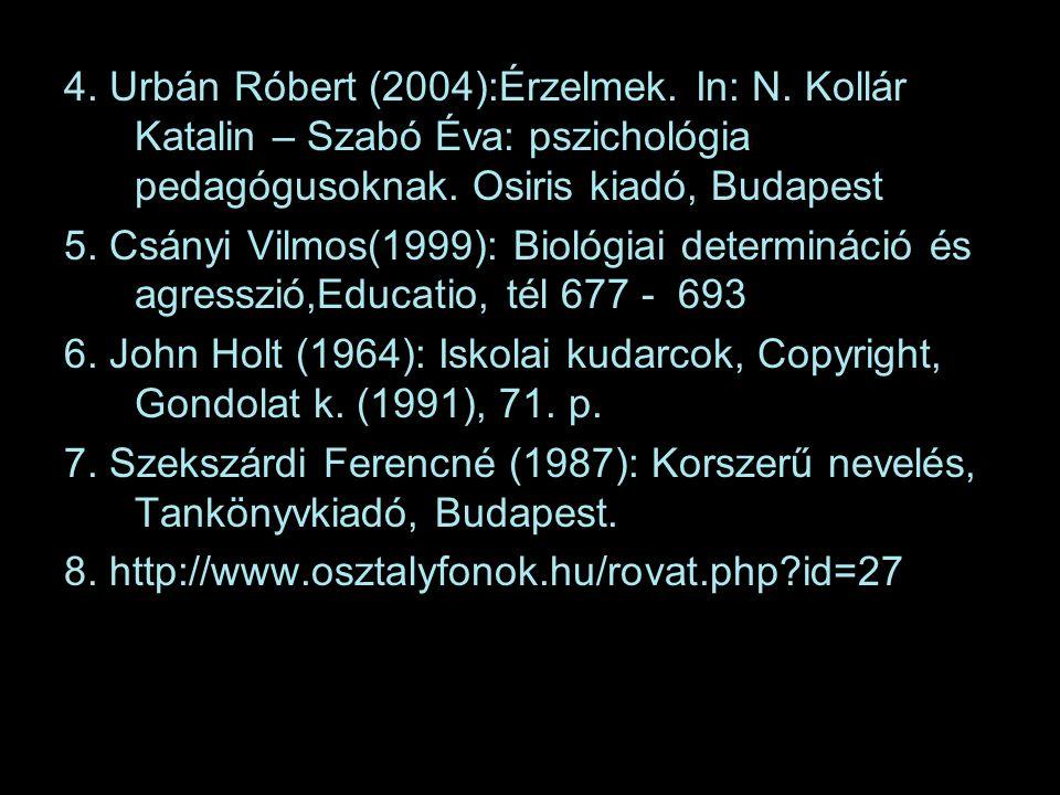 4. Urbán Róbert (2004):Érzelmek. In: N