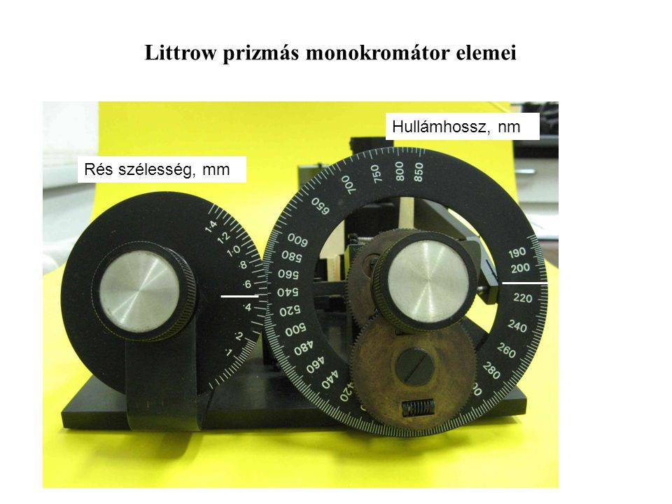 Littrow prizmás monokromátor elemei