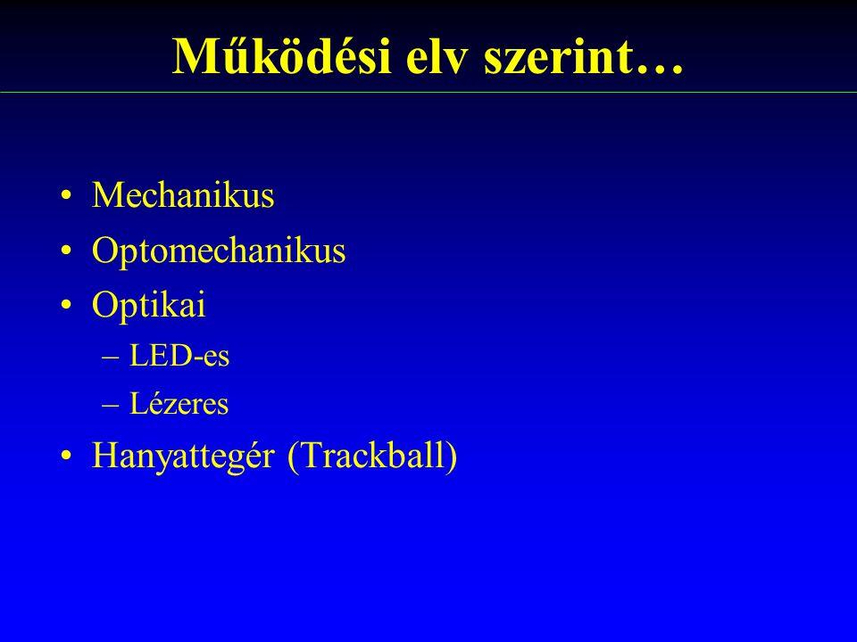 Működési elv szerint… Mechanikus Optomechanikus Optikai