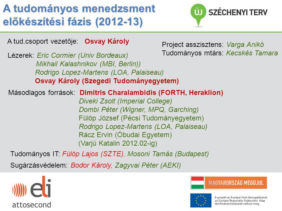 A tudományos menedzsment előkészítési fázis (2012-13)