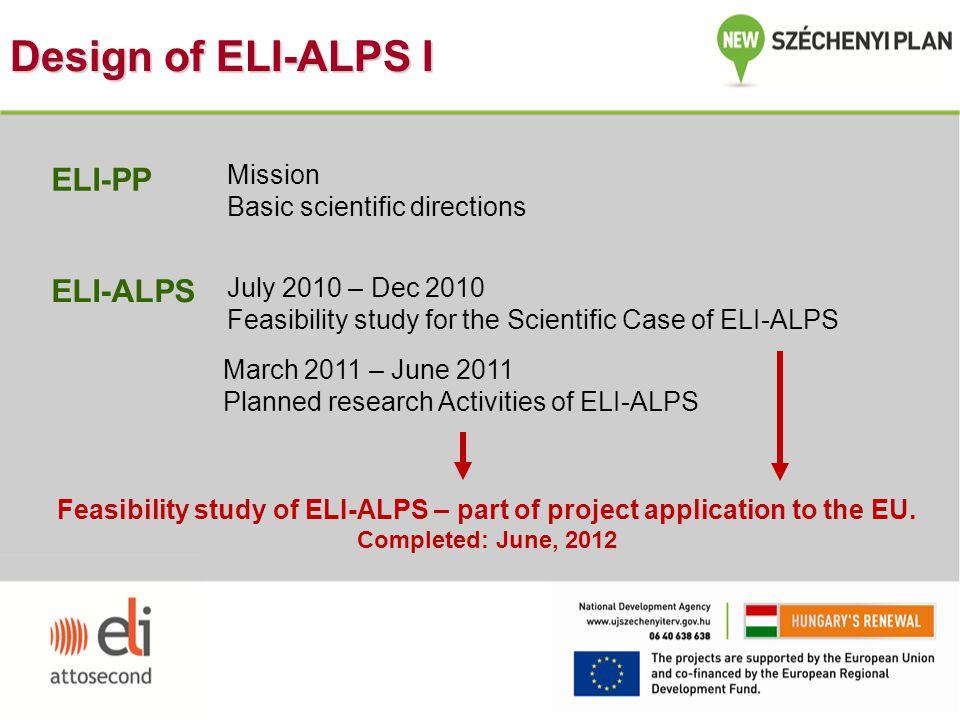 Design of ELI-ALPS I ELI-PP ELI-ALPS Mission