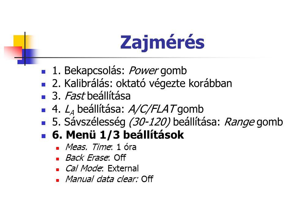 Zajmérés 6. Menü 1/3 beállítások 1. Bekapcsolás: Power gomb