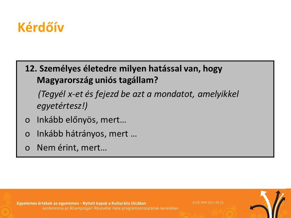 Kérdőív 12. Személyes életedre milyen hatással van, hogy Magyarország uniós tagállam