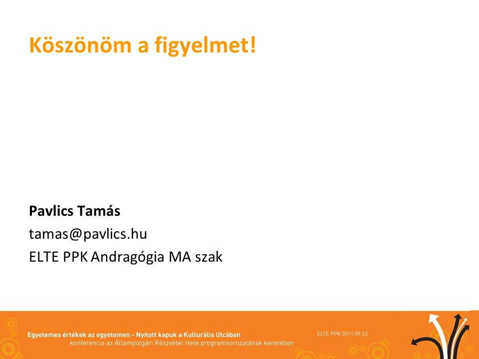 Köszönöm a figyelmet! Pavlics Tamás tamas@pavlics.hu