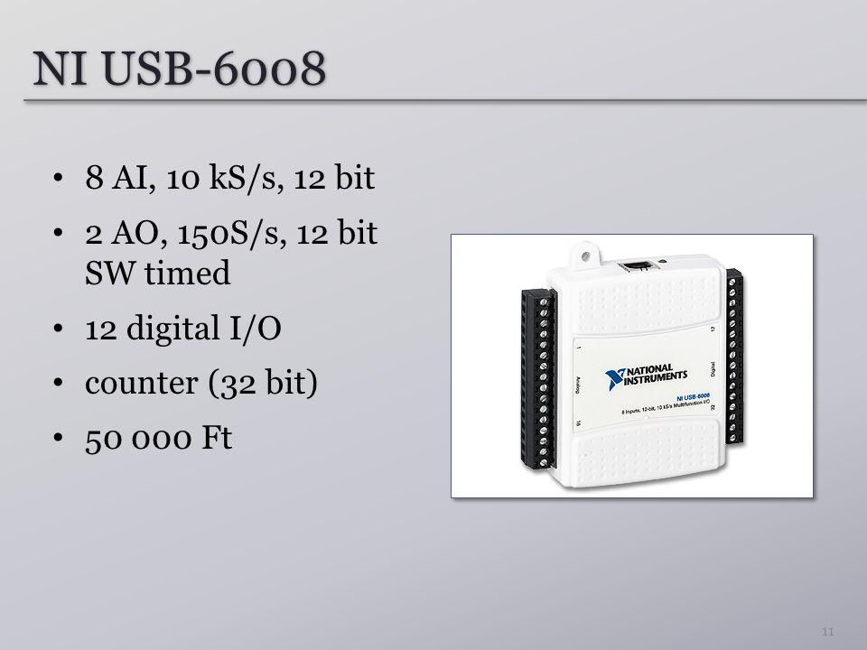 NI USB-6008 8 AI, 10 kS/s, 12 bit 2 AO, 150S/s, 12 bit SW timed