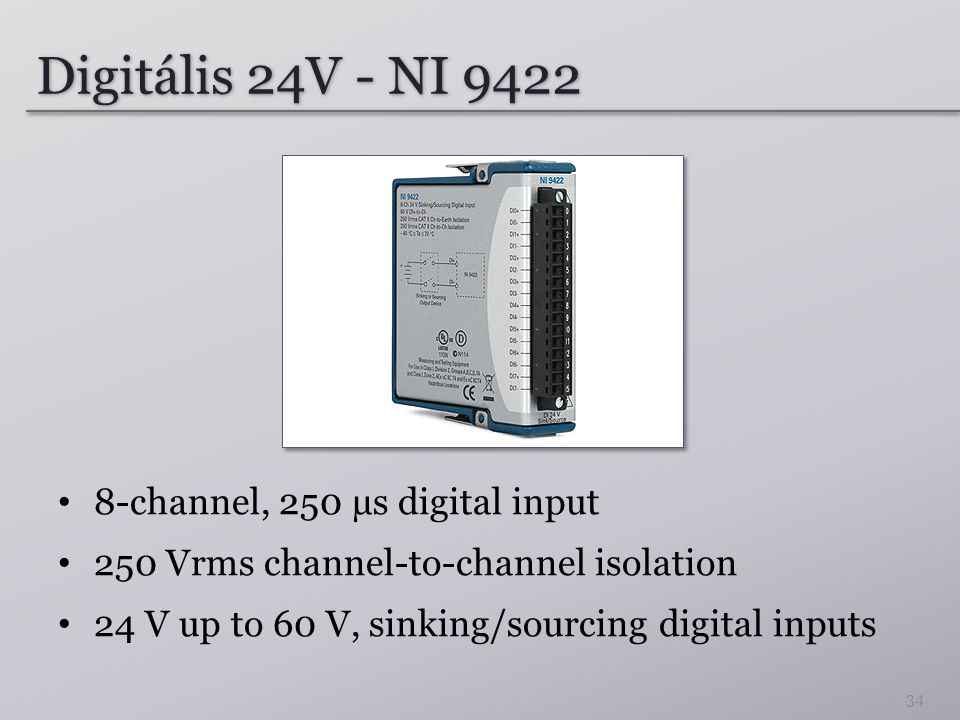 Digitális 24V - NI 9422 8-channel, 250 µs digital input