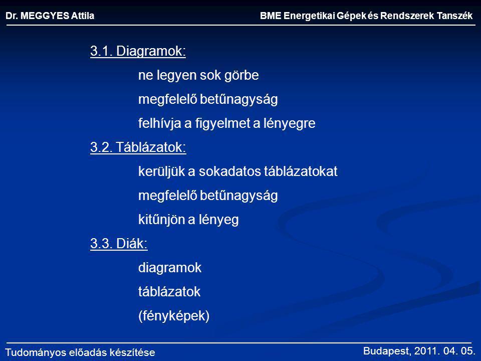 megfelelő betűnagyság felhívja a figyelmet a lényegre 3.2. Táblázatok: