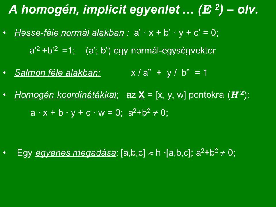 A homogén, implicit egyenlet … (E 2) – olv.