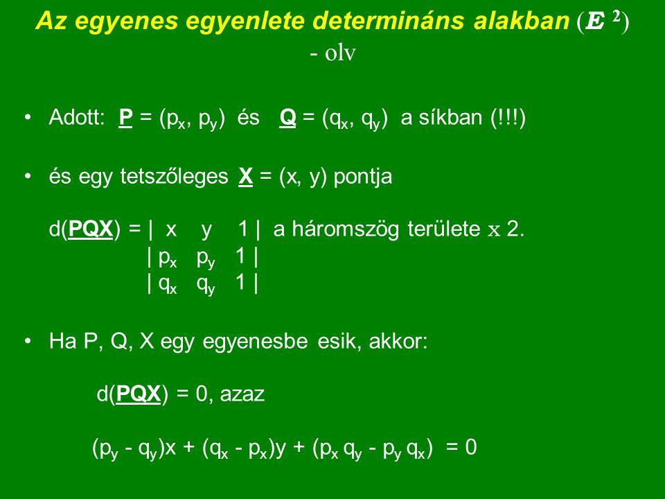 Az egyenes egyenlete determináns alakban (E 2) - olv