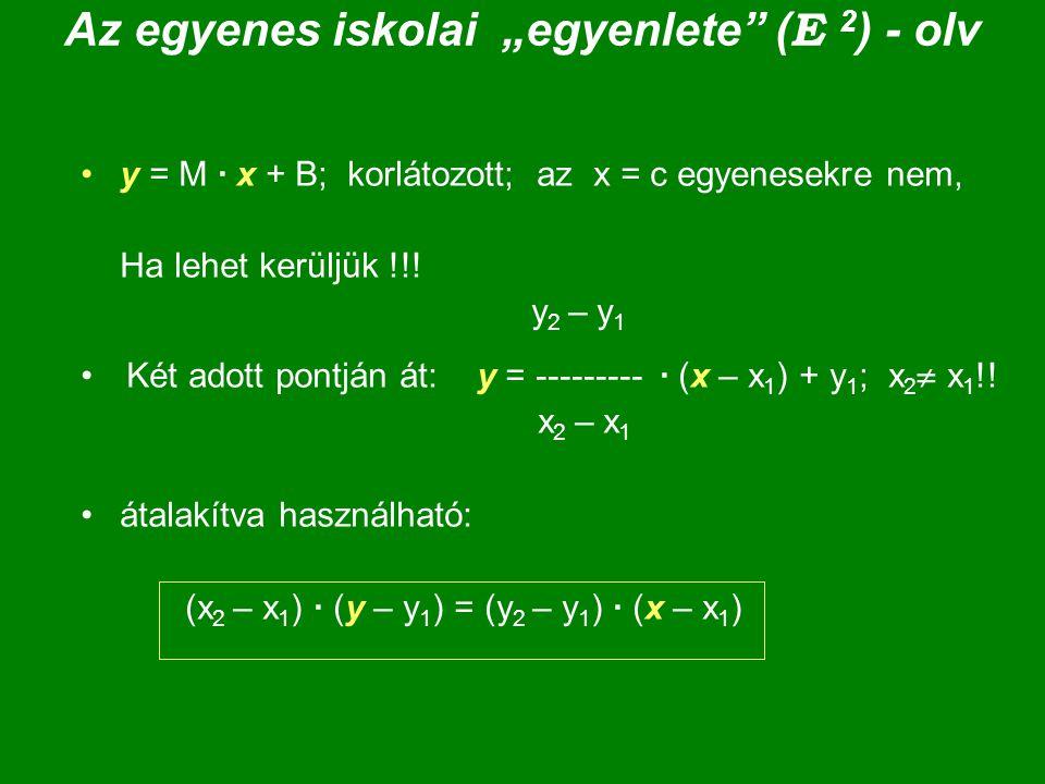 """Az egyenes iskolai """"egyenlete (E 2) - olv"""