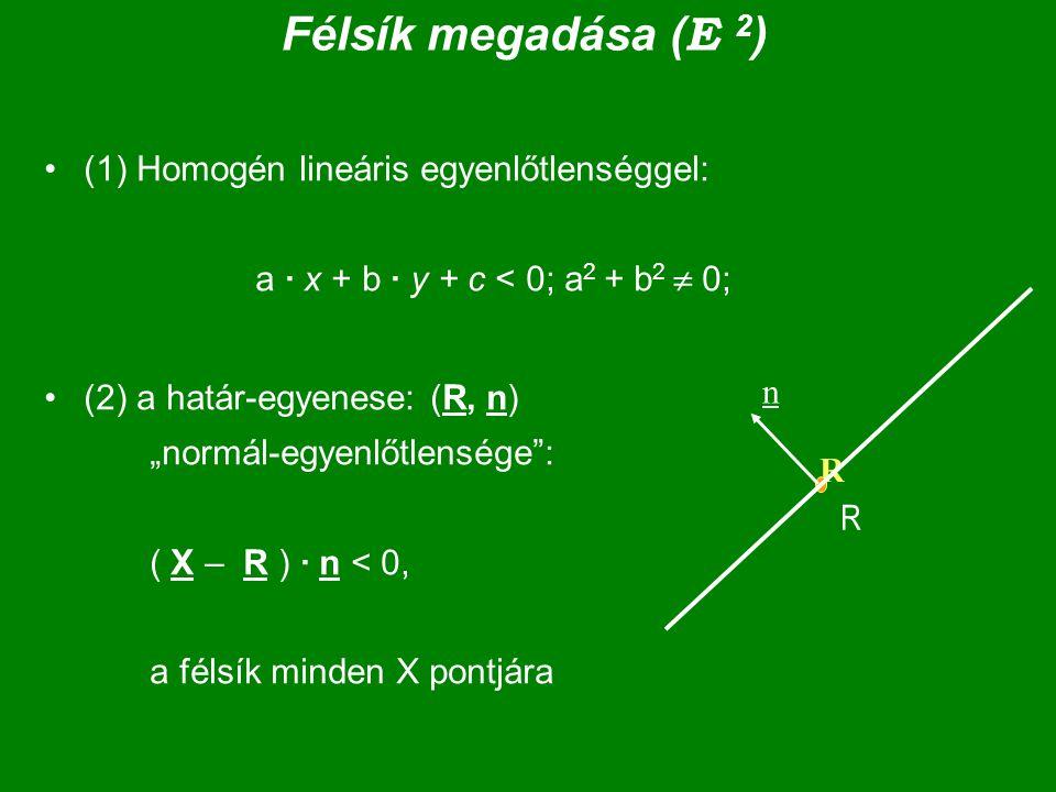 Félsík megadása (E 2) (1) Homogén lineáris egyenlőtlenséggel: a · x + b · y + c < 0; a2 + b2  0;