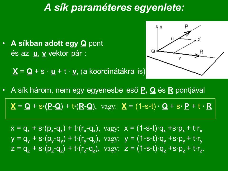 A sík paraméteres egyenlete: