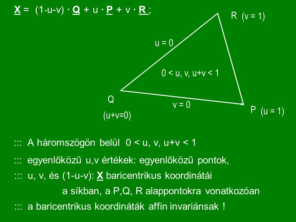 X = (1-u-v) · Q + u · P + v · R ; ::: A háromszögön belül 0 < u, v, u+v < 1.