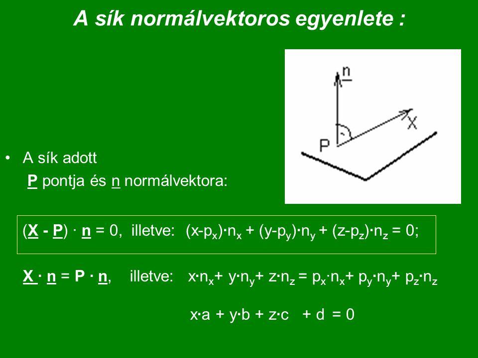 A sík normálvektoros egyenlete :