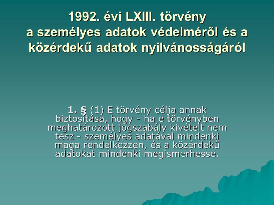 1992. évi LXIII. törvény a személyes adatok védelméről és a közérdekű adatok nyilvánosságáról