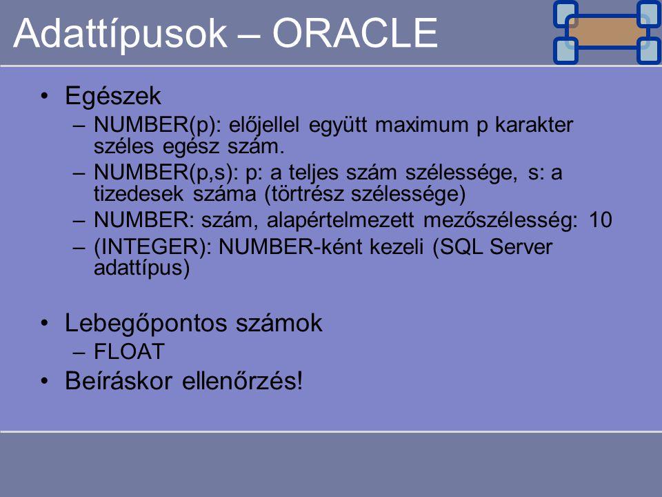 Adattípusok – ORACLE Egészek Lebegőpontos számok Beíráskor ellenőrzés!