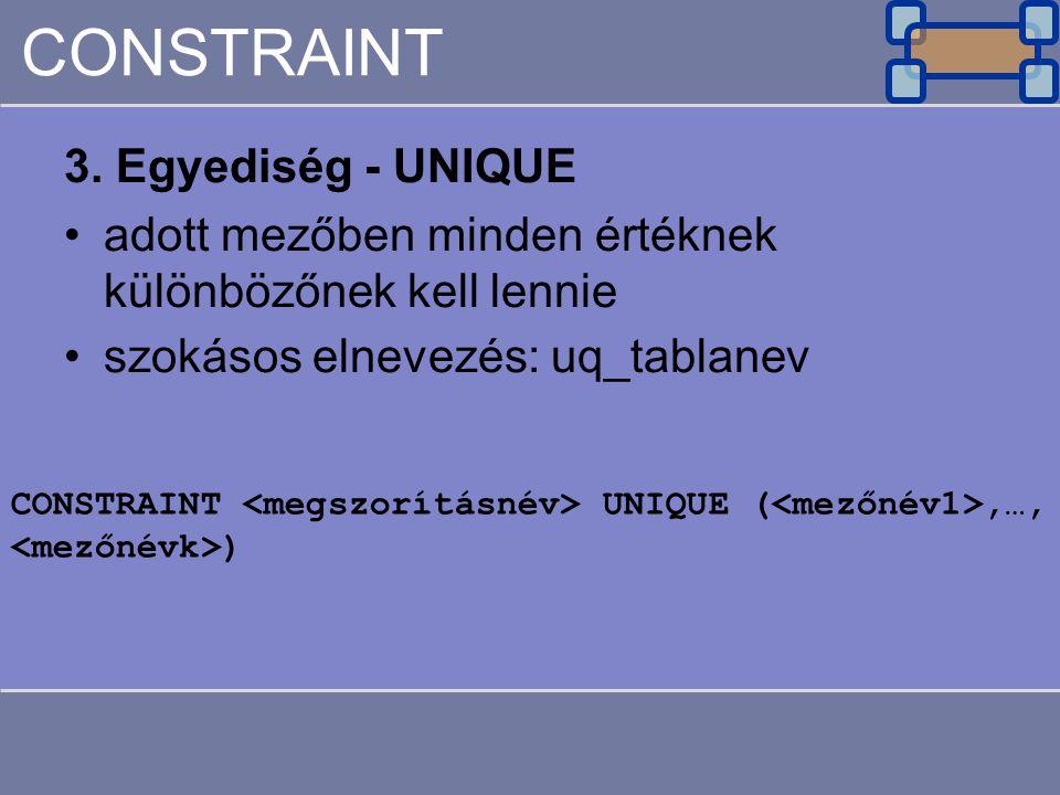 CONSTRAINT 3. Egyediség - UNIQUE