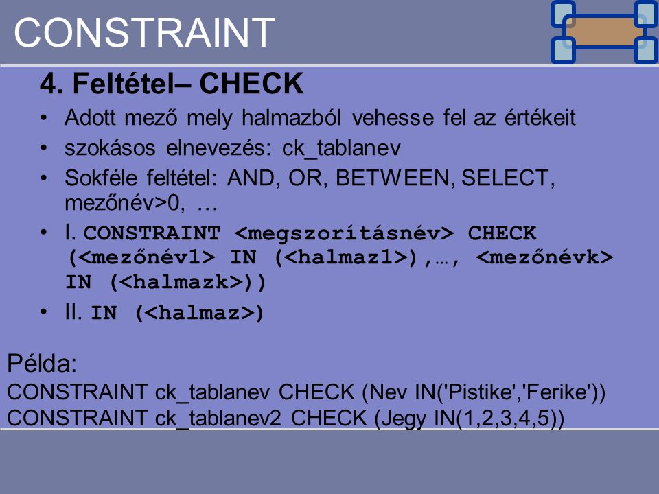CONSTRAINT 4. Feltétel– CHECK Példa: