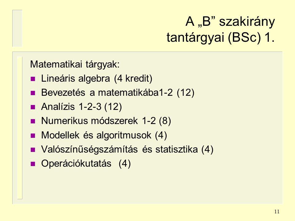 """A """"B szakirány tantárgyai (BSc) 1."""