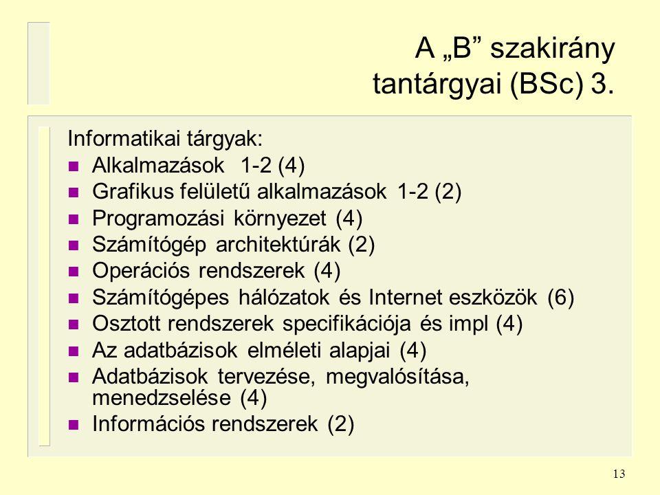 """A """"B szakirány tantárgyai (BSc) 3."""