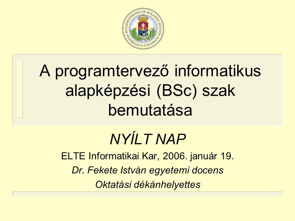 A programtervező informatikus alapképzési (BSc) szak bemutatása