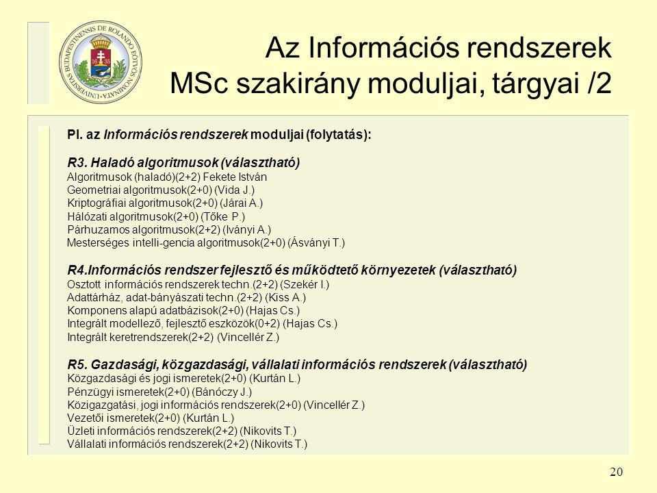 Az Információs rendszerek MSc szakirány moduljai, tárgyai /2