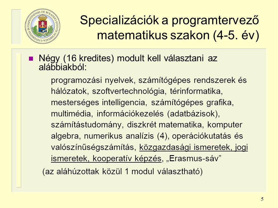 Specializációk a programtervező matematikus szakon (4-5. év)