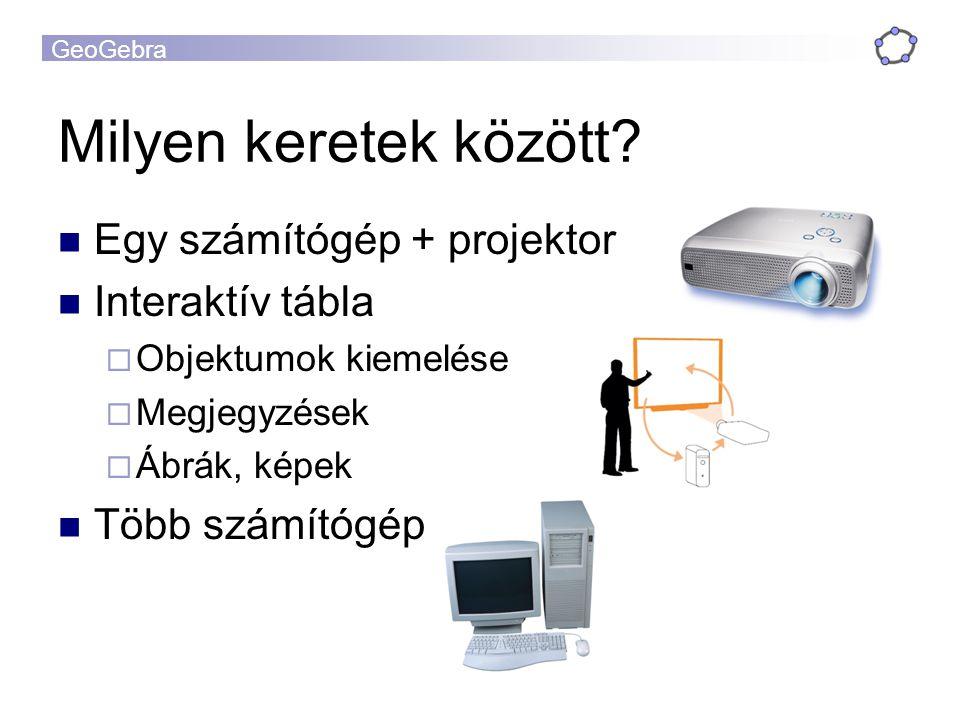 Milyen keretek között Egy számítógép + projektor Interaktív tábla
