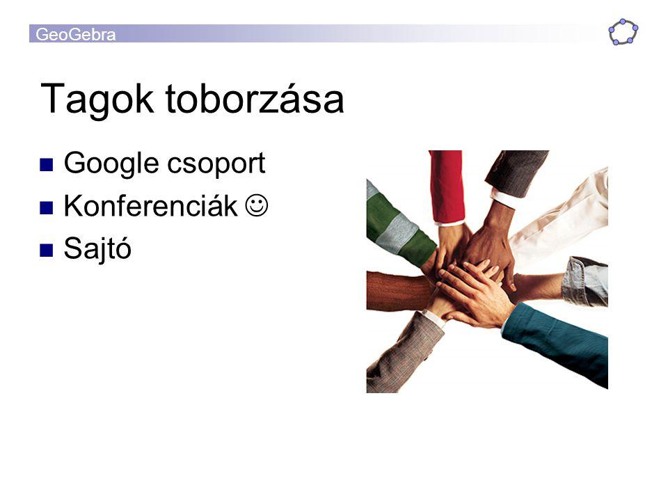Tagok toborzása Google csoport Konferenciák  Sajtó
