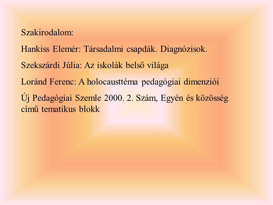 Szakirodalom: Hankiss Elemér: Társadalmi csapdák. Diagnózisok. Szekszárdi Júlia: Az iskolák belső világa.