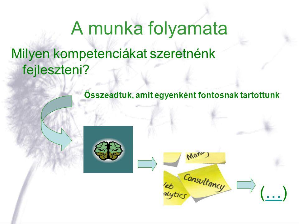 A munka folyamata (…) Milyen kompetenciákat szeretnénk fejleszteni