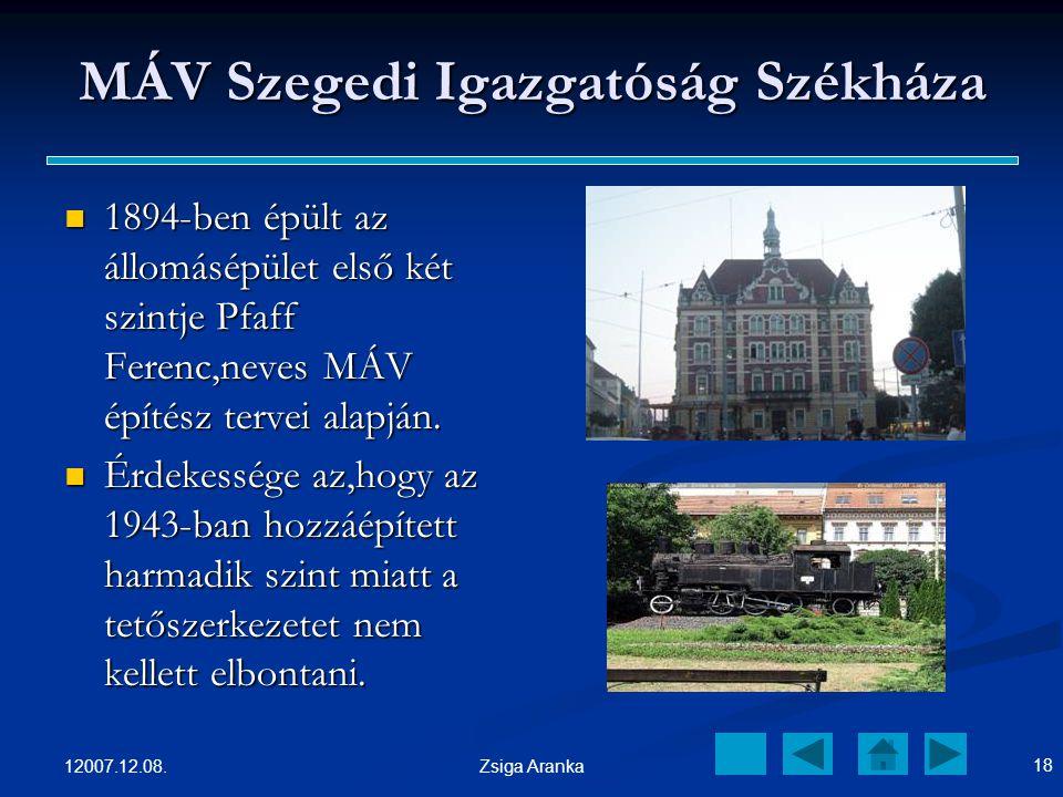 MÁV Szegedi Igazgatóság Székháza