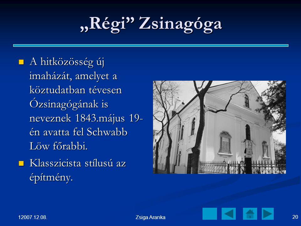 """""""Régi Zsinagóga A hitközösség új imaházát, amelyet a köztudatban tévesen Ózsinagógának is neveznek 1843.május 19-én avatta fel Schwabb Löw főrabbi."""