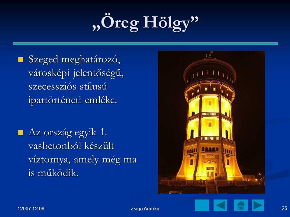 """""""Öreg Hölgy Szeged meghatározó, városképi jelentőségű, szecessziós stílusú ipartörténeti emléke."""