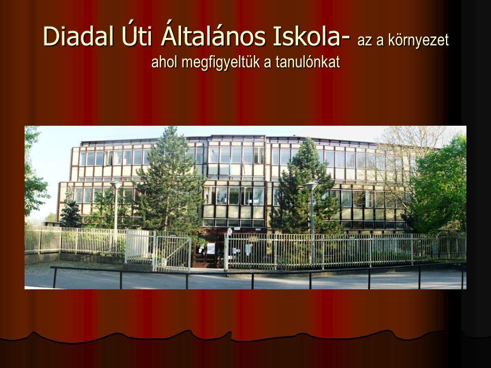 Diadal Úti Általános Iskola- az a környezet ahol megfigyeltük a tanulónkat