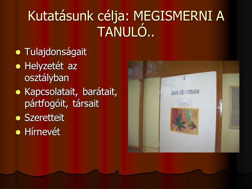 Kutatásunk célja: MEGISMERNI A TANULÓ..