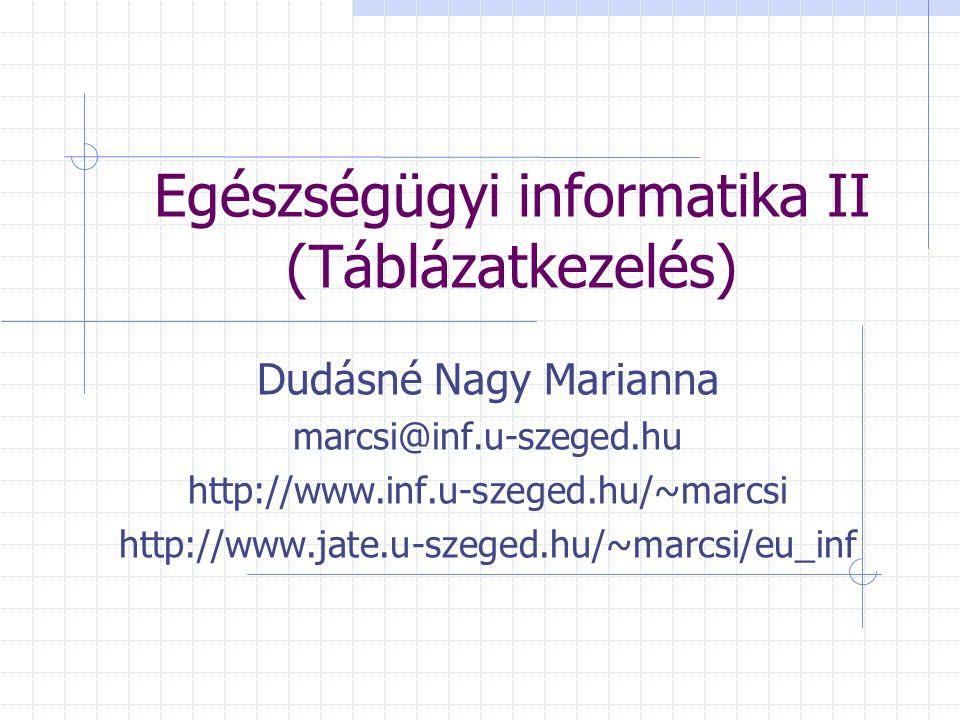 Egészségügyi informatika II (Táblázatkezelés)