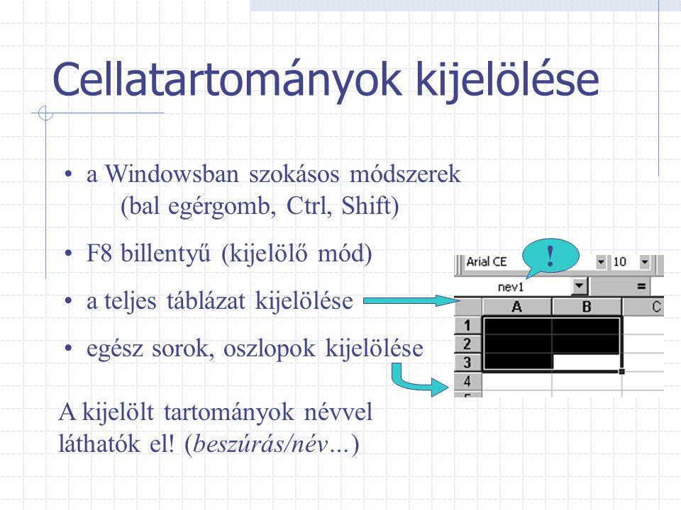 Cellatartományok kijelölése