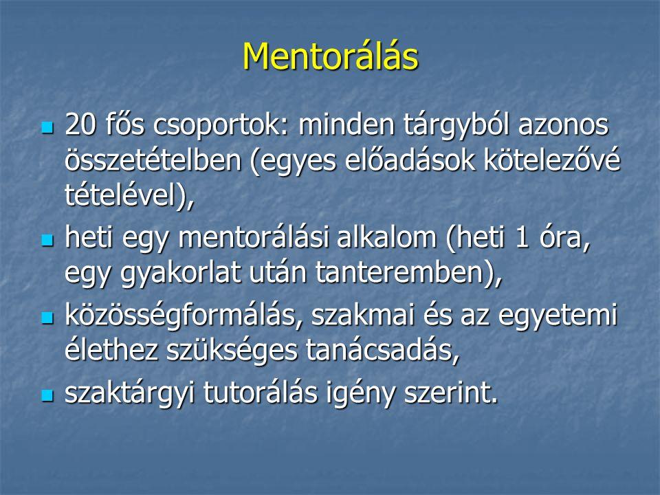 Mentorálás 20 fős csoportok: minden tárgyból azonos összetételben (egyes előadások kötelezővé tételével),