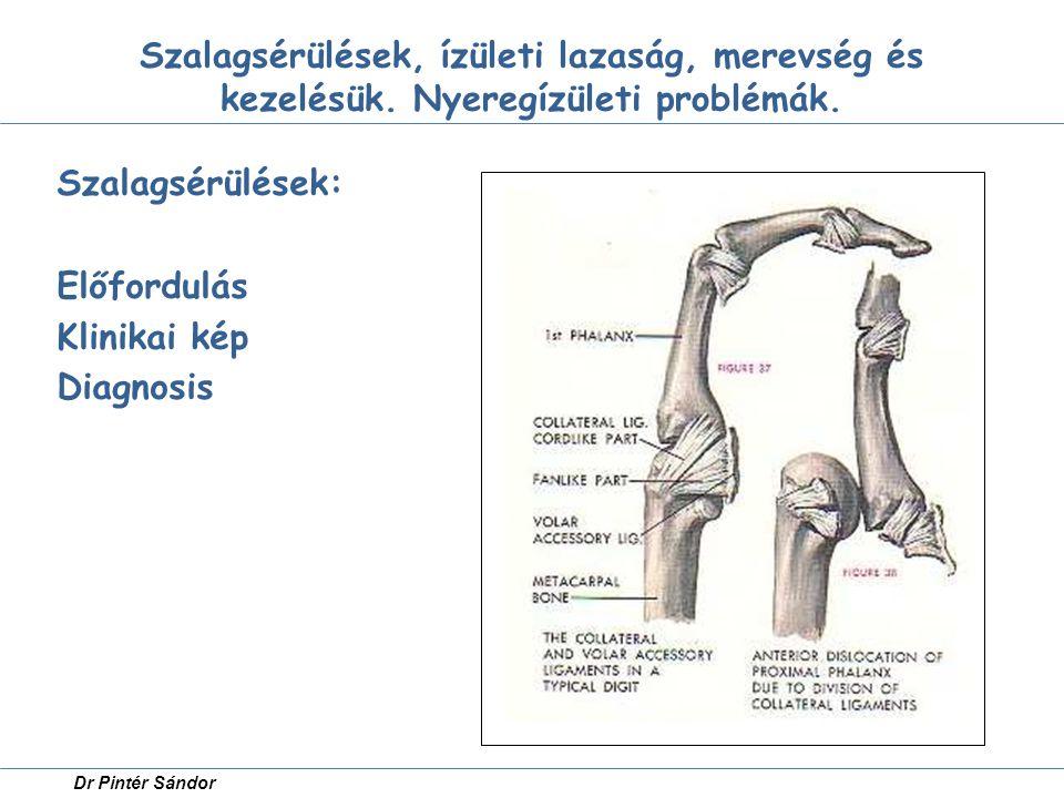 Szalagsérülések: Előfordulás Klinikai kép Diagnosis