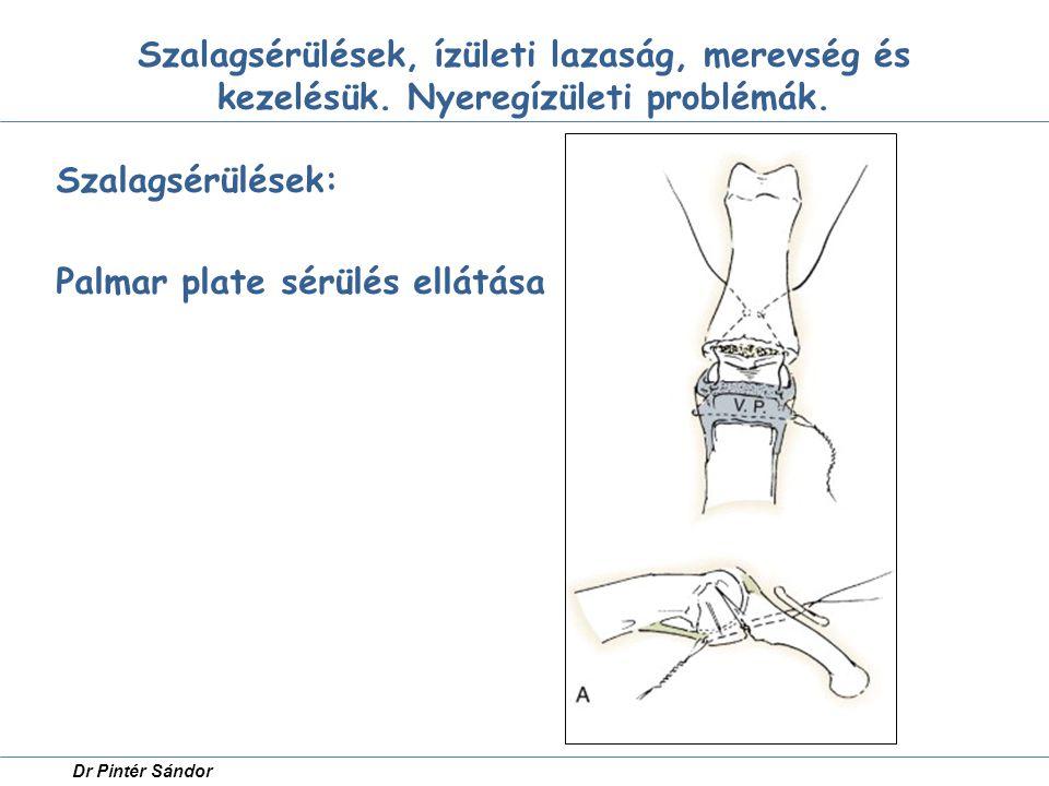 Szalagsérülések: Palmar plate sérülés ellátása