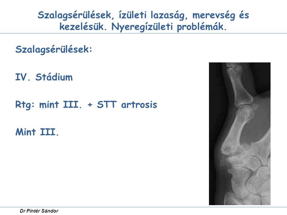 Szalagsérülések: IV. Stádium Rtg: mint III. + STT artrosis Mint III.