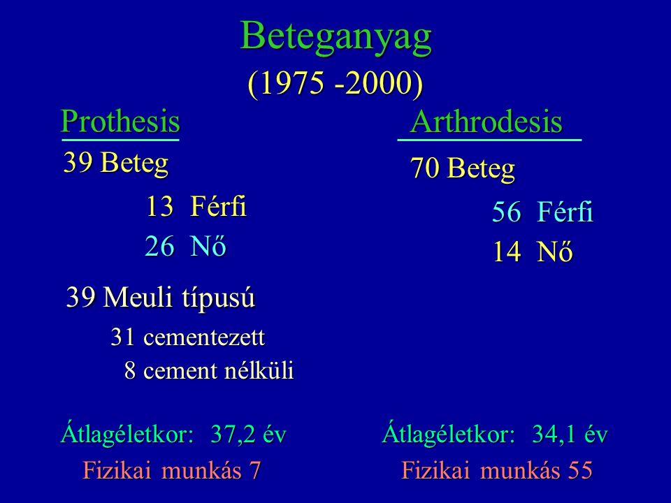 39 Meuli típusú Beteganyag (1975 -2000) Prothesis Arthrodesis