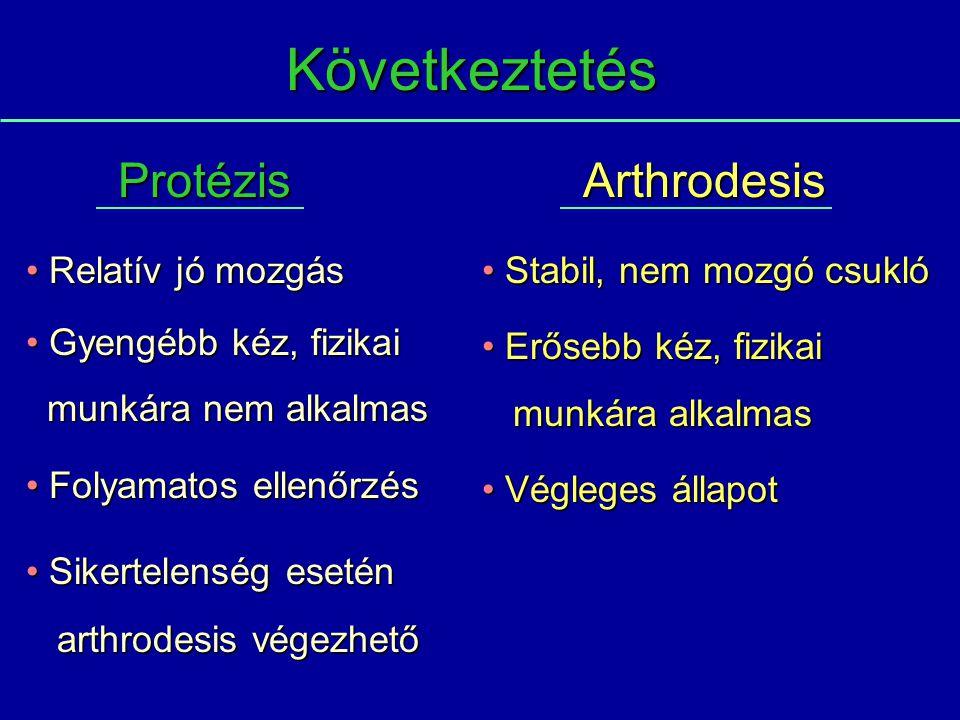 Következtetés Protézis Arthrodesis Relatív jó mozgás