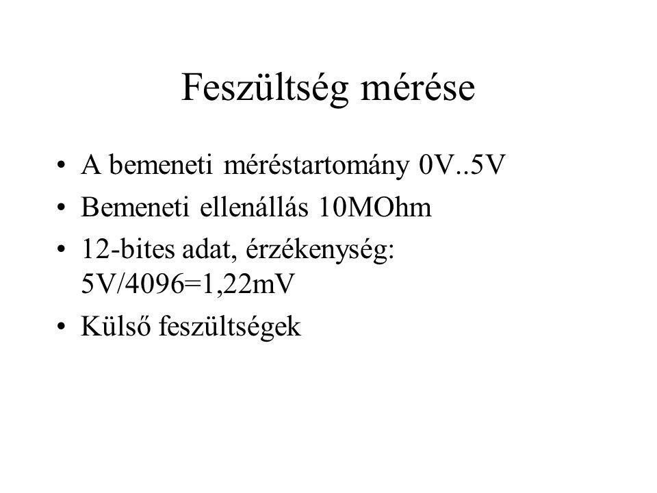 Feszültség mérése A bemeneti méréstartomány 0V..5V