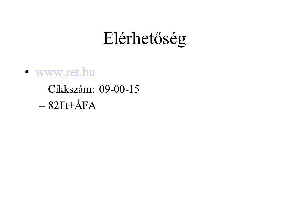 Elérhetőség www.ret.hu Cikkszám: 09-00-15 82Ft+ÁFA