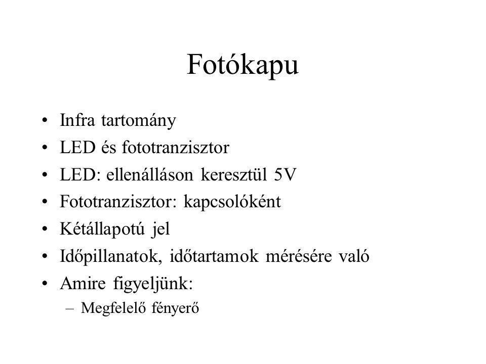 Fotókapu Infra tartomány LED és fototranzisztor