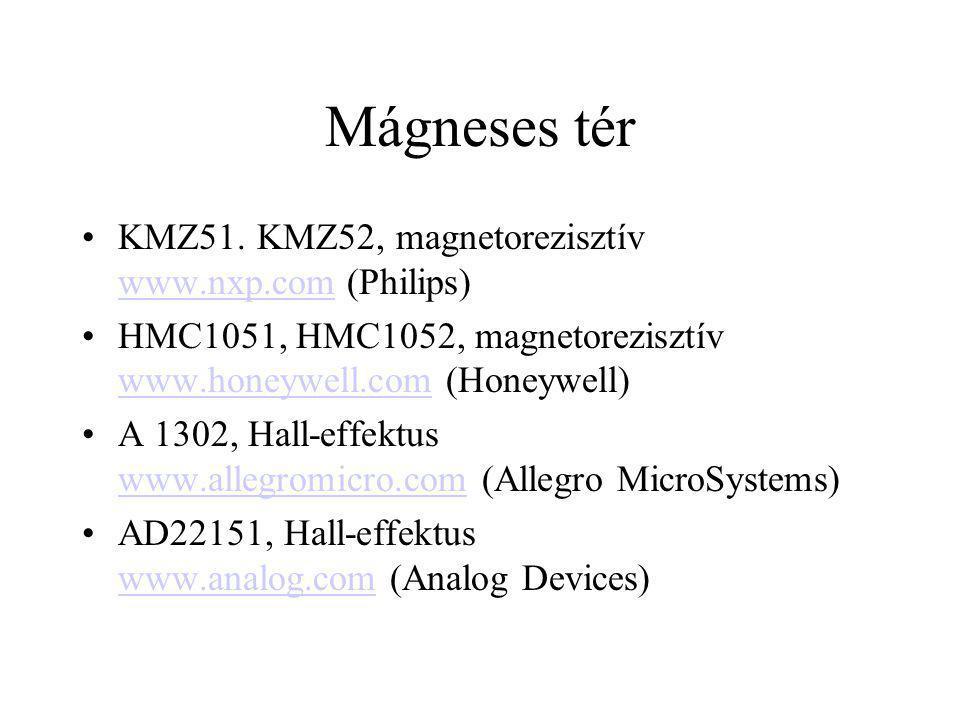 Mágneses tér KMZ51. KMZ52, magnetorezisztív www.nxp.com (Philips)