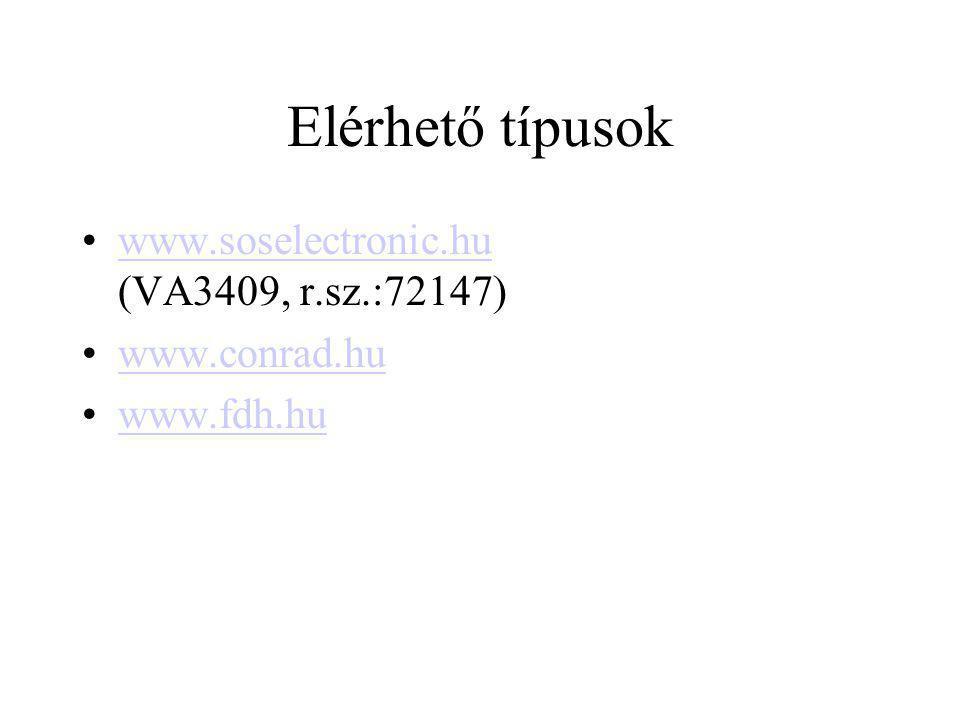 Elérhető típusok www.soselectronic.hu (VA3409, r.sz.:72147)